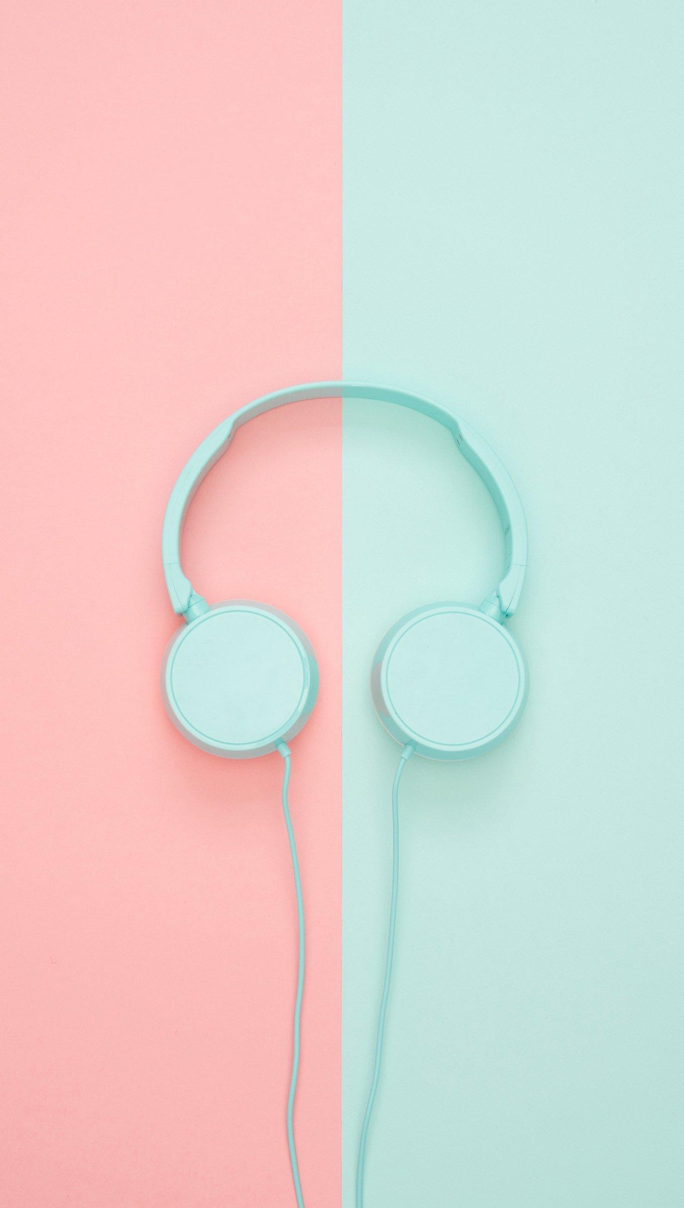 Fondos de pantalla Audífonos en rosa y azul pastel Vertical