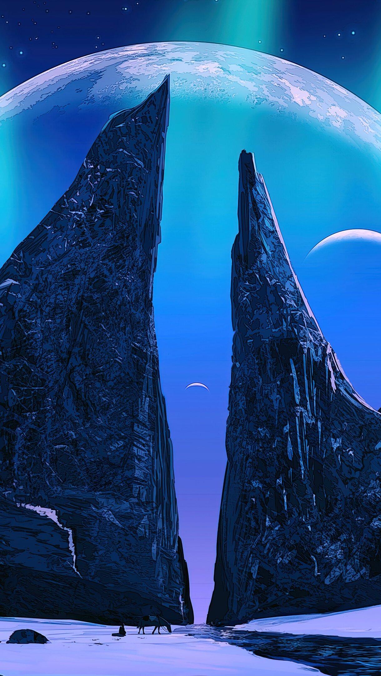Fondos de pantalla Aurora Polar con montañas y la luna de fondo Vertical