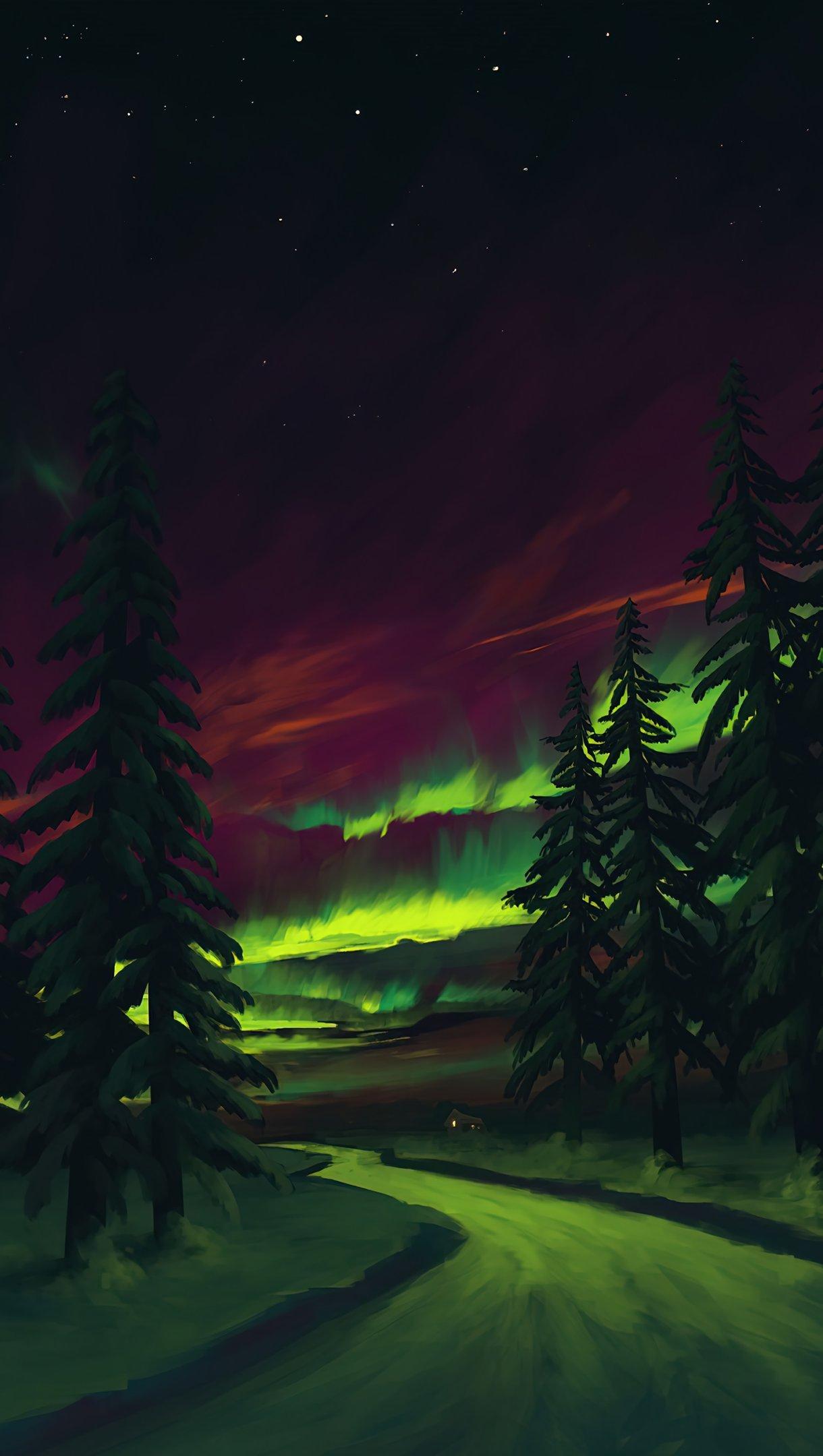 Fondos de pantalla Aurora Polar en el bosque Vertical
