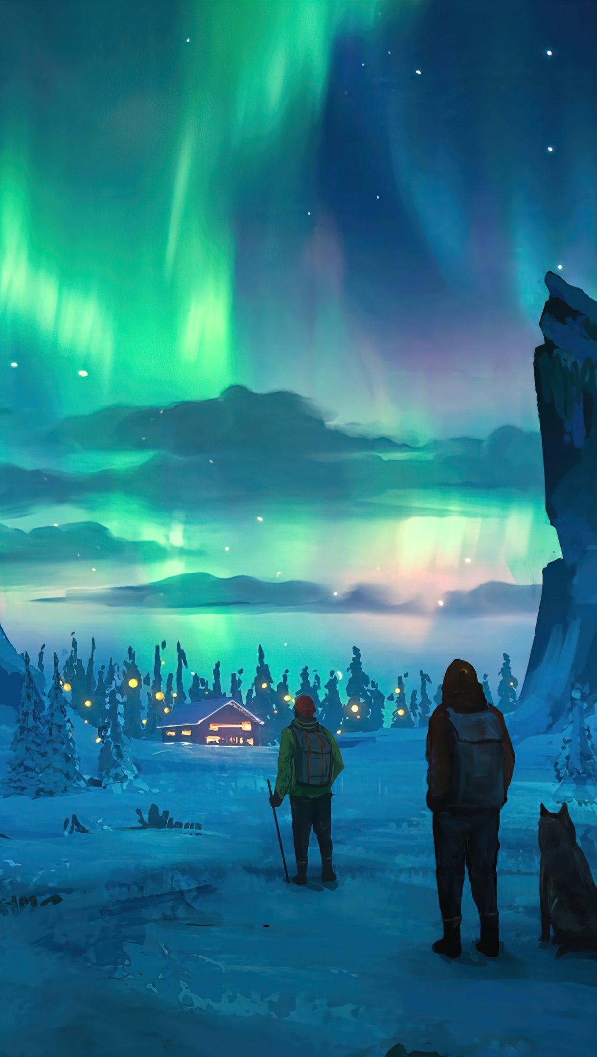 Fondos de pantalla Aurora polar en el cielo nocturno Arte Digital Vertical