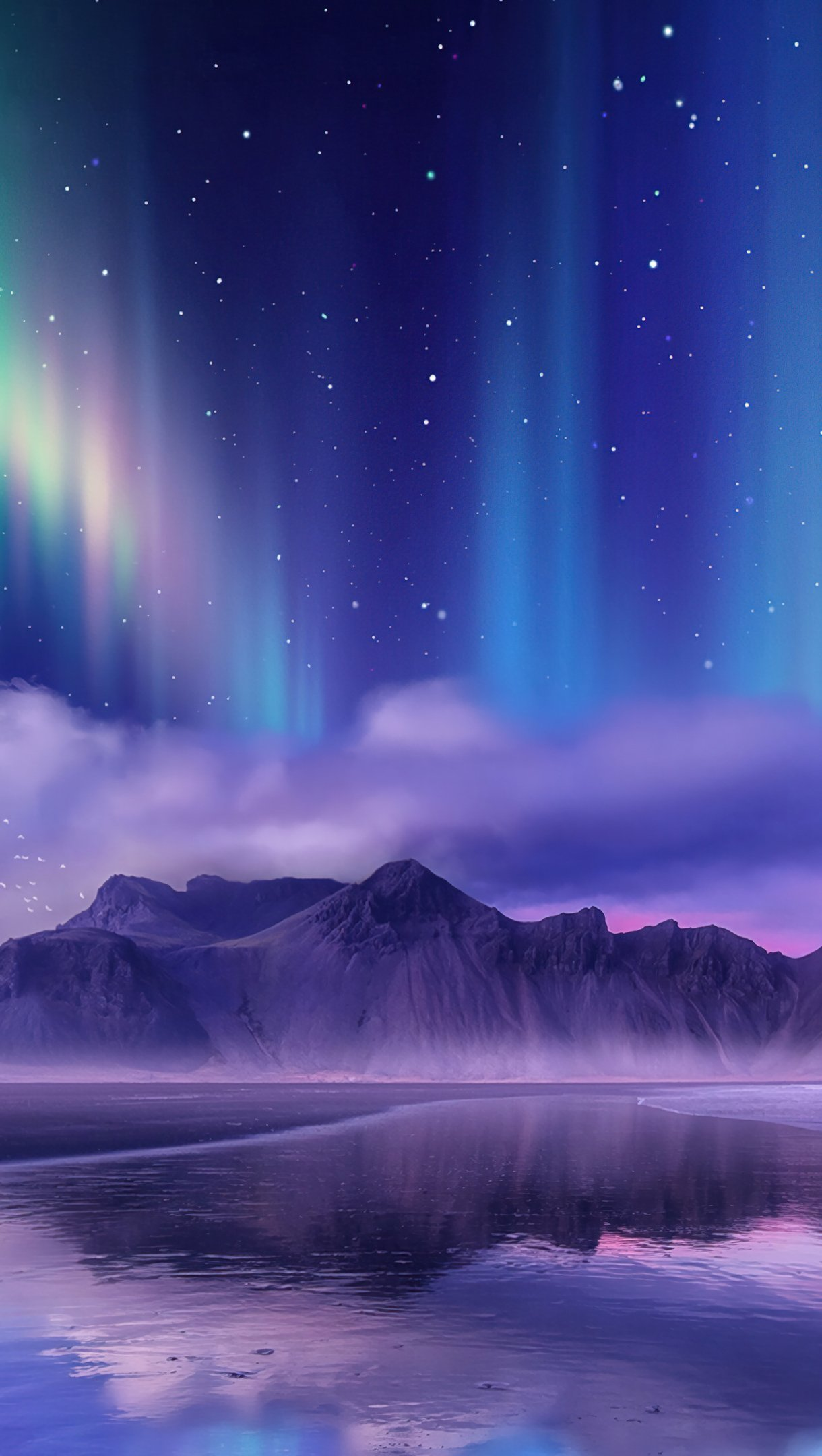 Wallpaper Aurora Borealis in mountains Digital Art Vertical