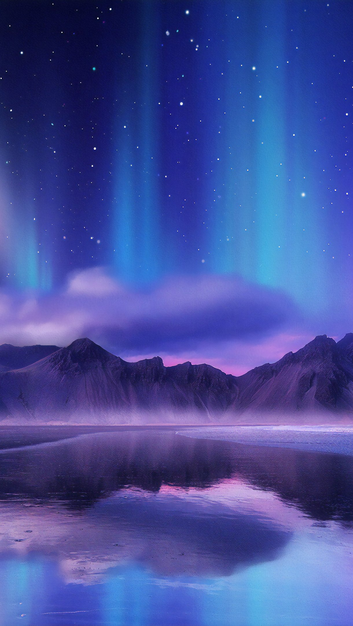 Wallpaper Northern lights reflected in lake in mountains Vertical