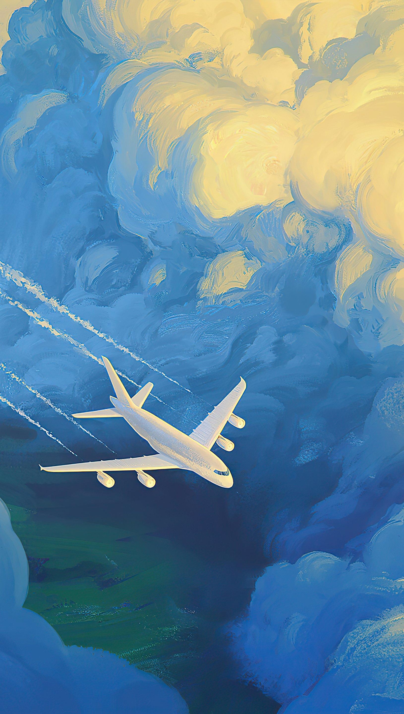 Fondos de pantalla Avión en las nubes Artwork Vertical