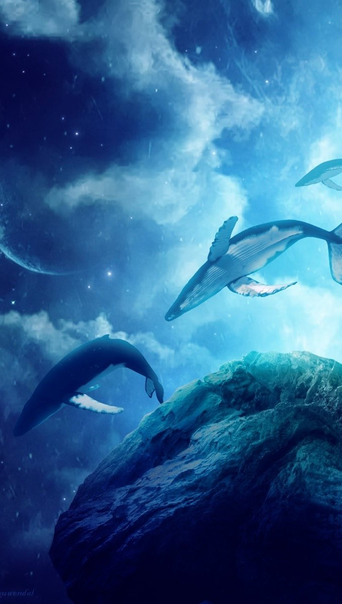 Wallpaper Whales in a fantastic world Vertical