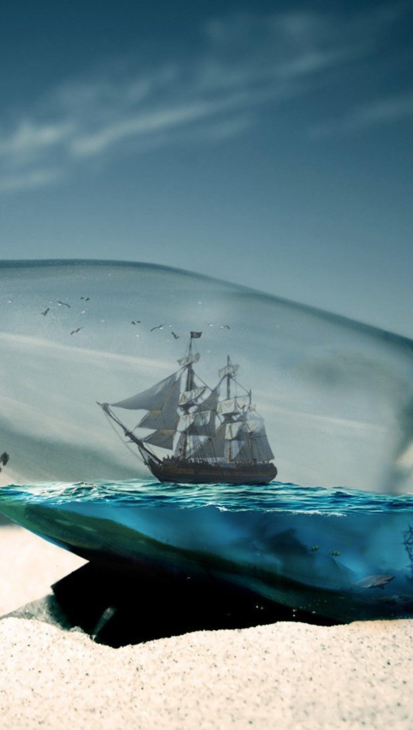 Wallpaper Ship in the sea inside a bottle Vertical