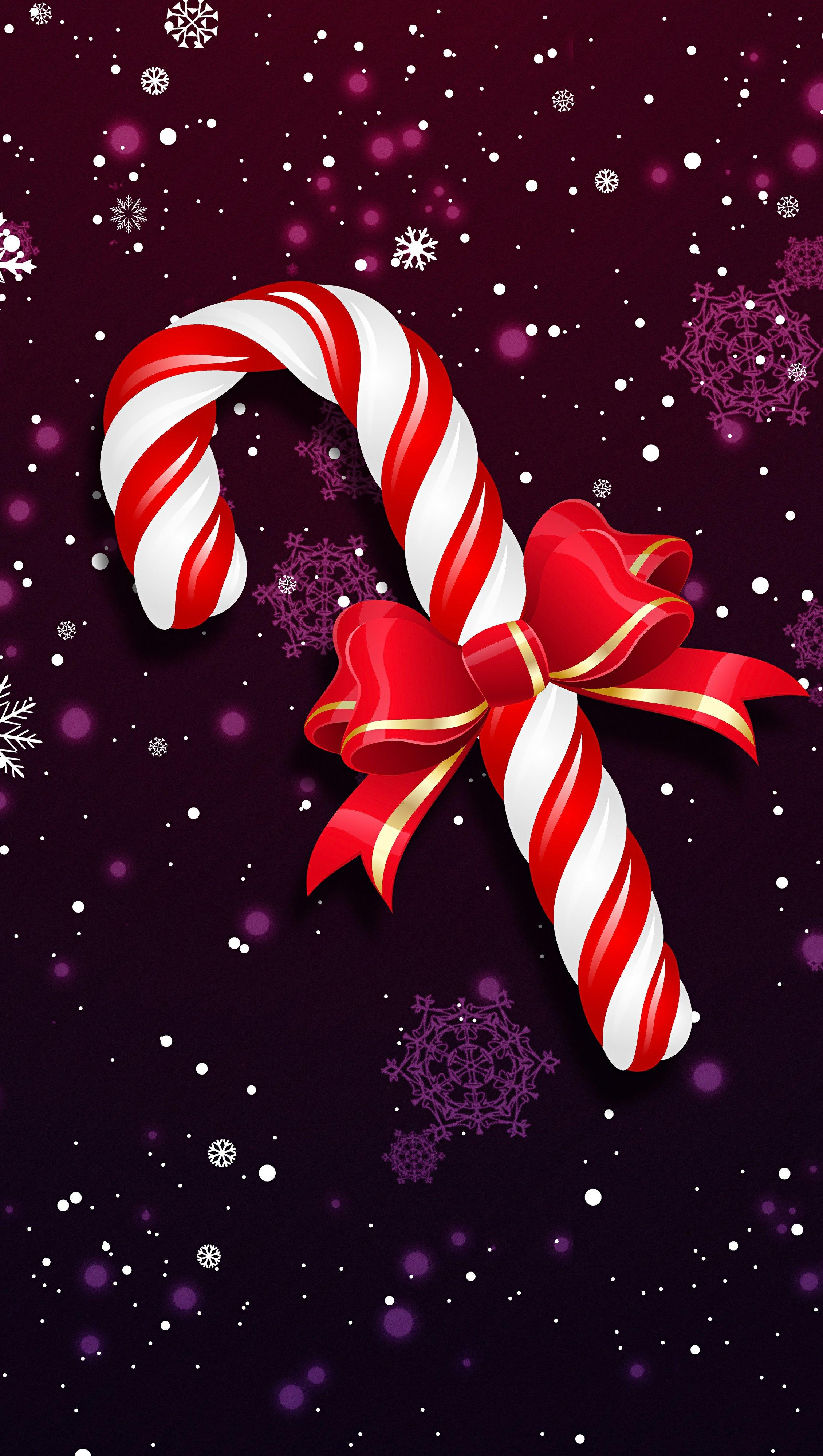 Fondos de pantalla Bastón Piruleta navideño con moño Vertical