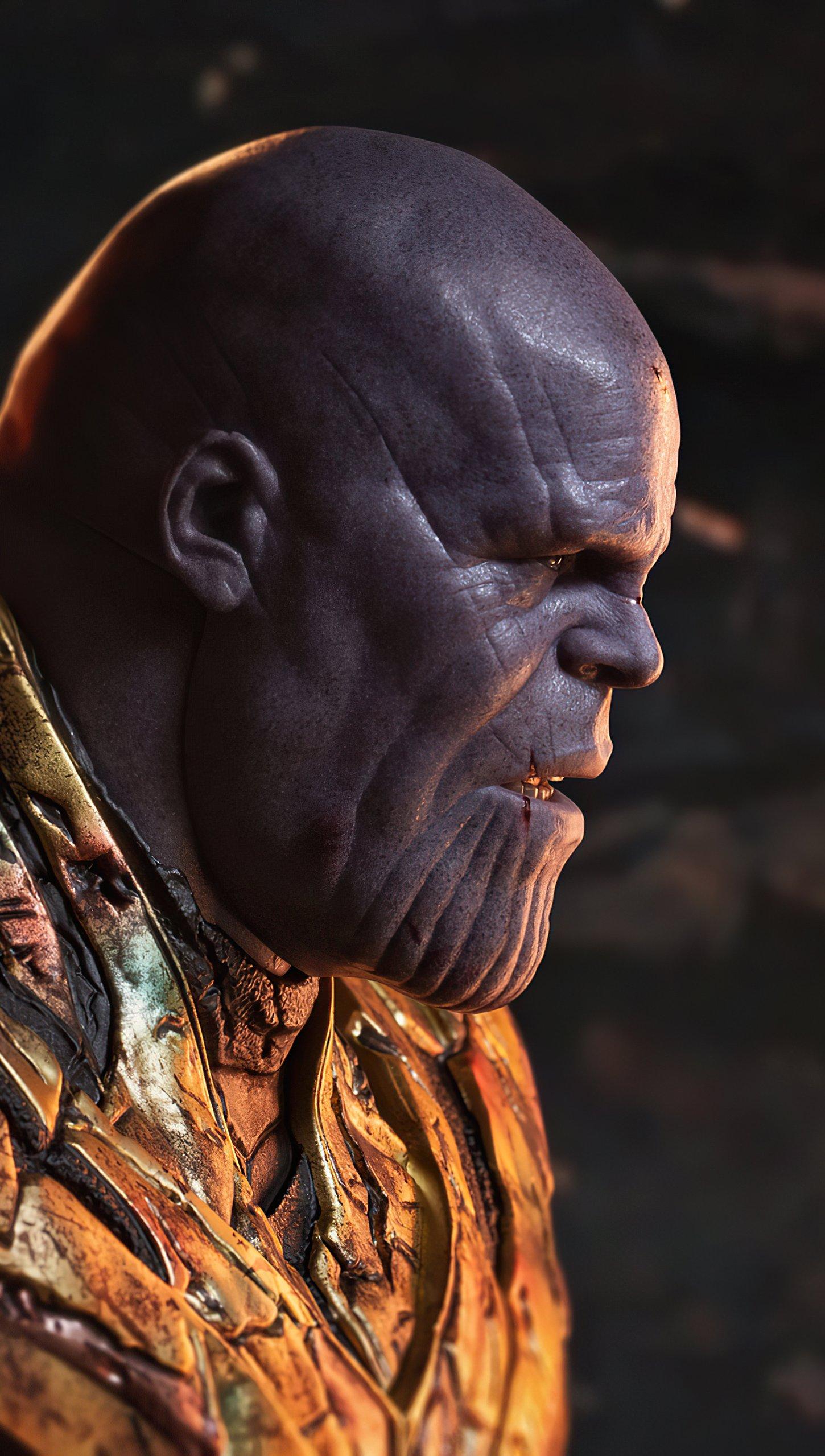 Wallpaper Battle Damanged Thanos Vertical