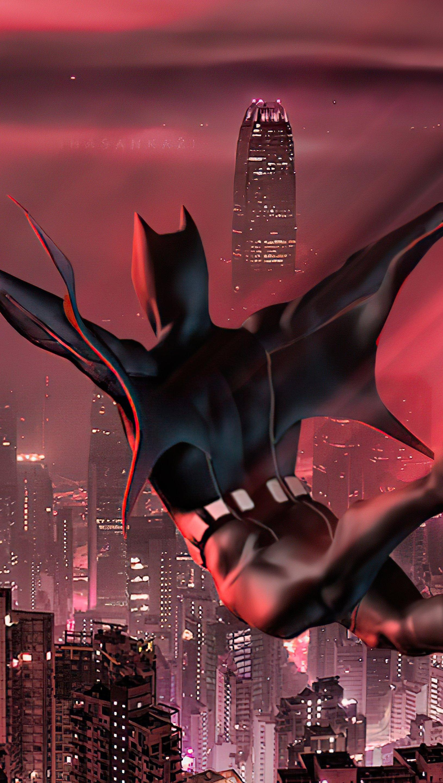 Wallpaper Batman Beyond jumping in city Vertical