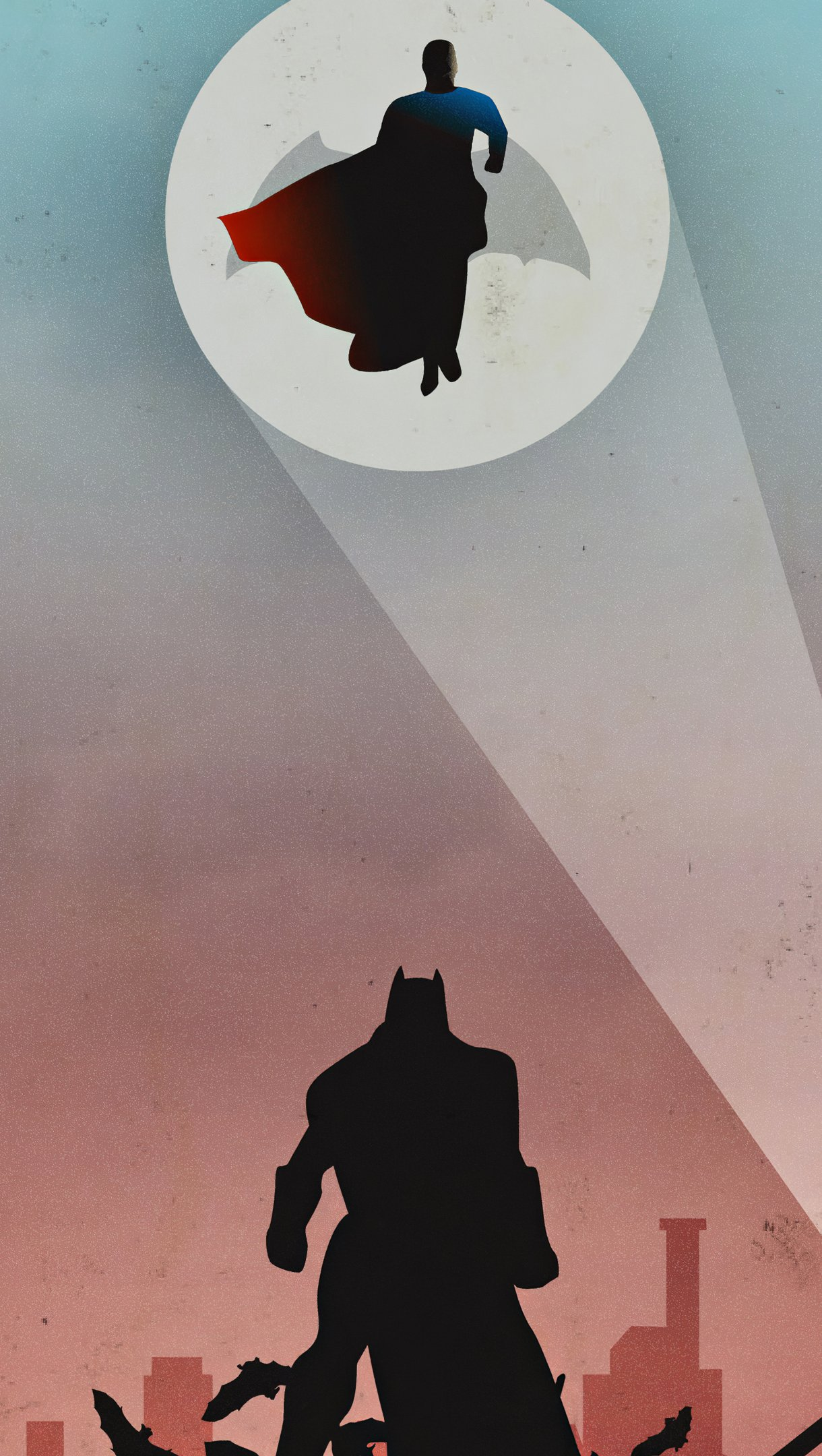 Wallpaper Batman Superman look up Vertical