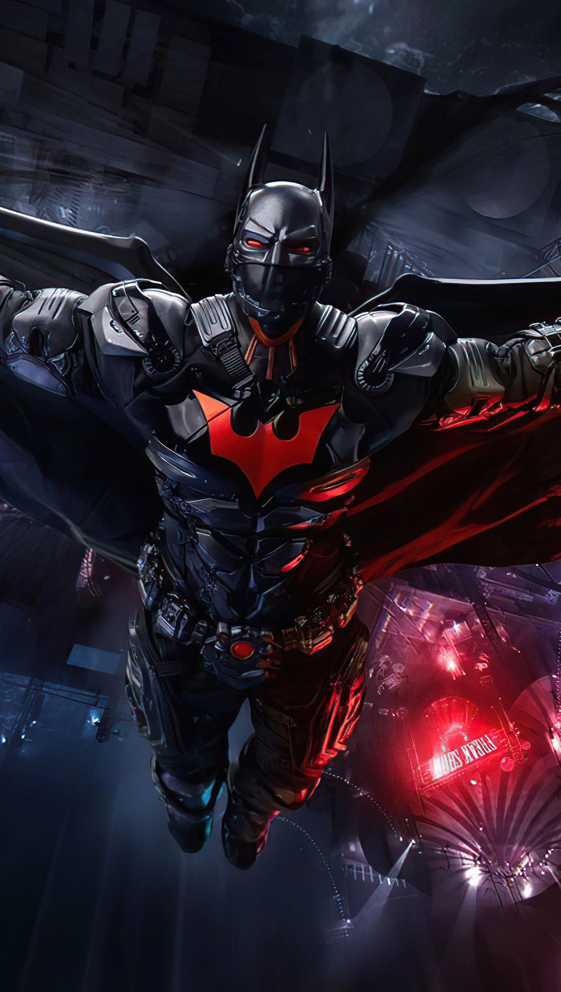 Wallpaper Hight Tech Batman Suit open wings Vertical