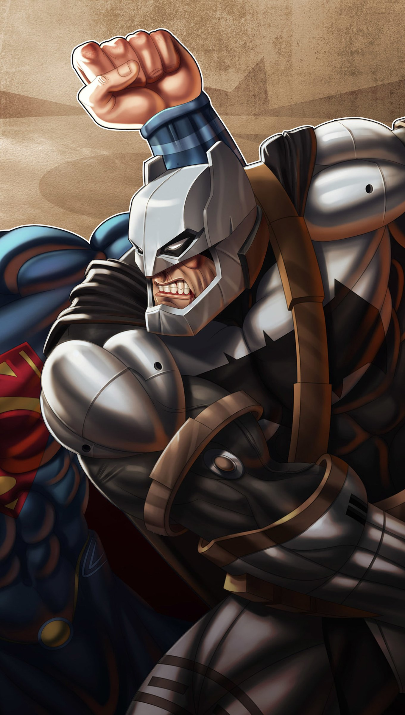 Fondos de pantalla Batman derrotando a Superman Vertical