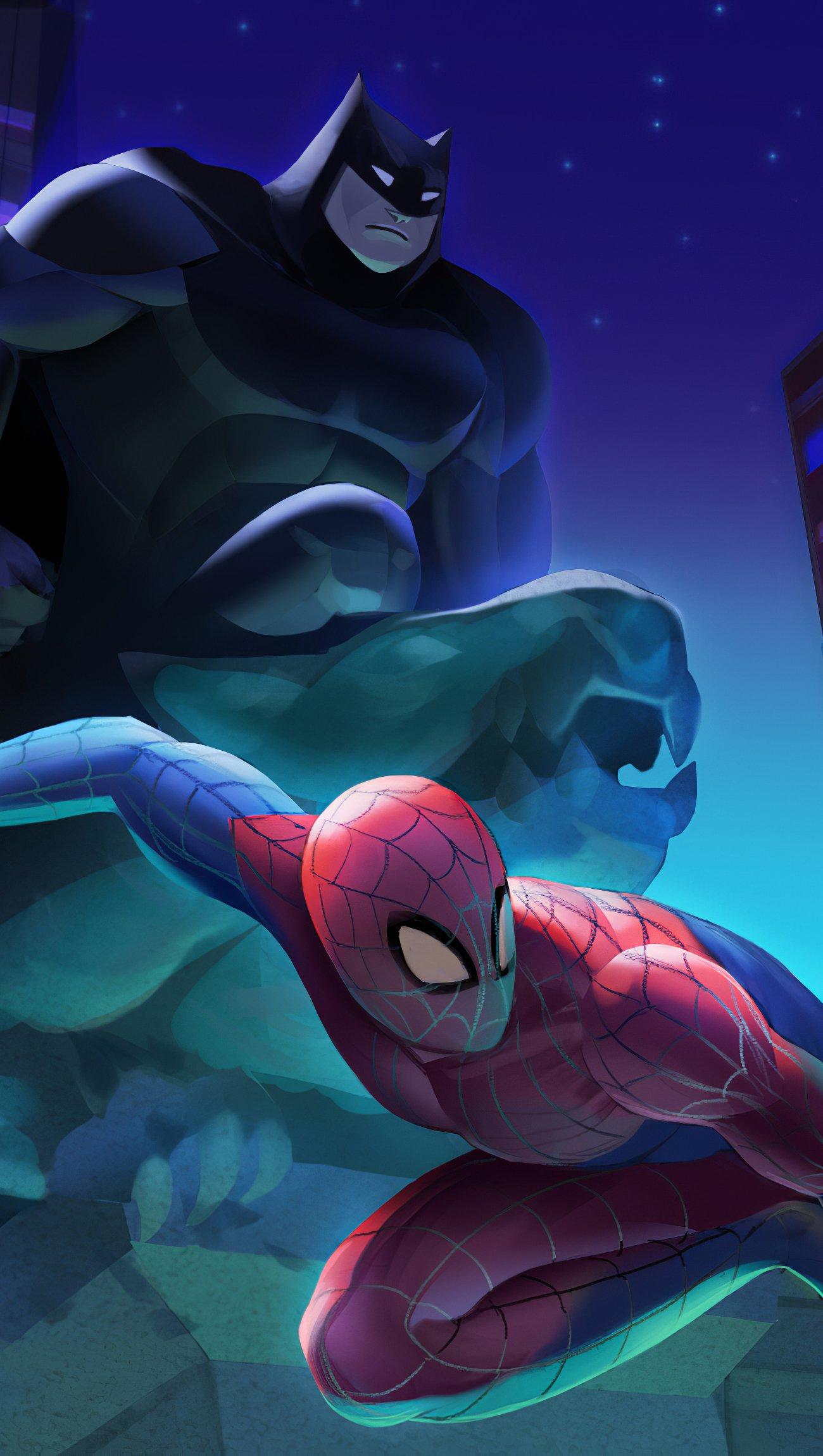 Wallpaper Batman Spiderman and Catwoman Fanart Vertical