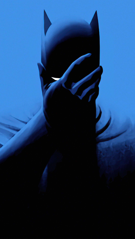 Fondos de pantalla Batman Estilo minimalista fondo azul Vertical