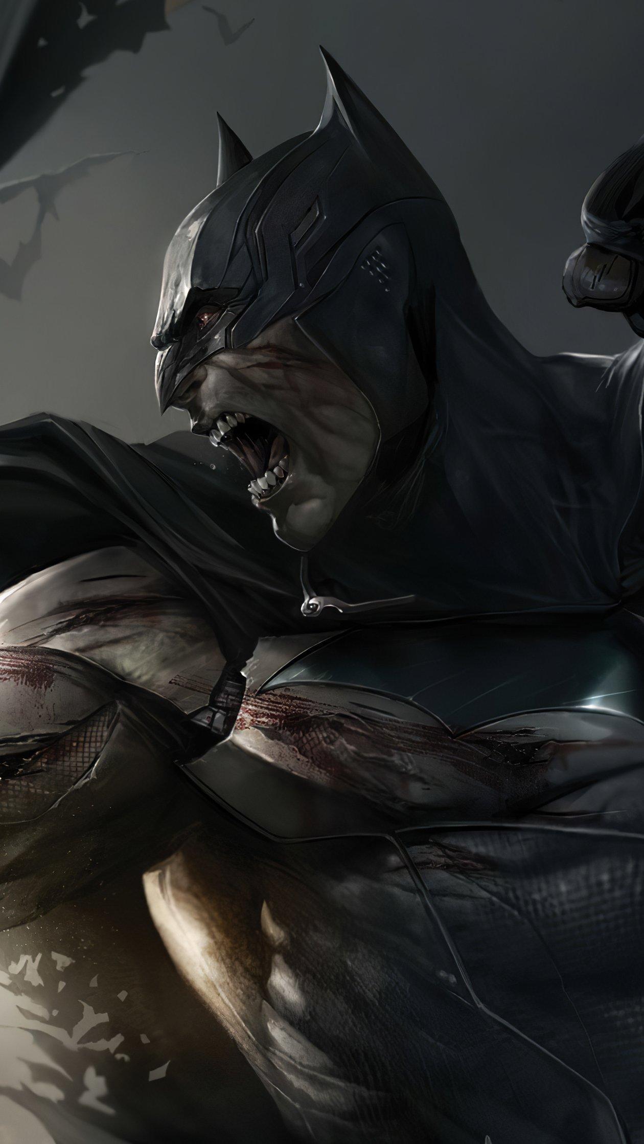 Fondos de pantalla Batman y Deathstroke peleando Vertical