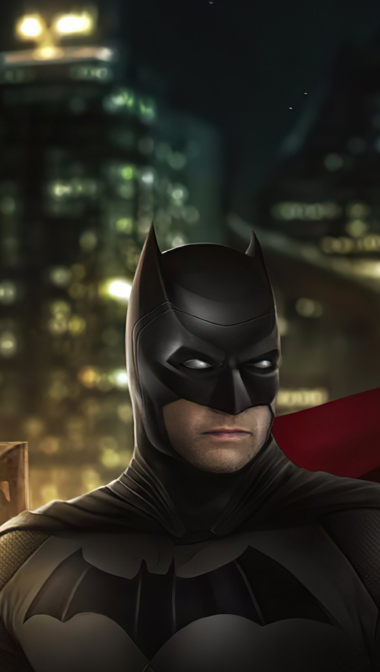 Wallpaper Batman and Superman in the city Vertical