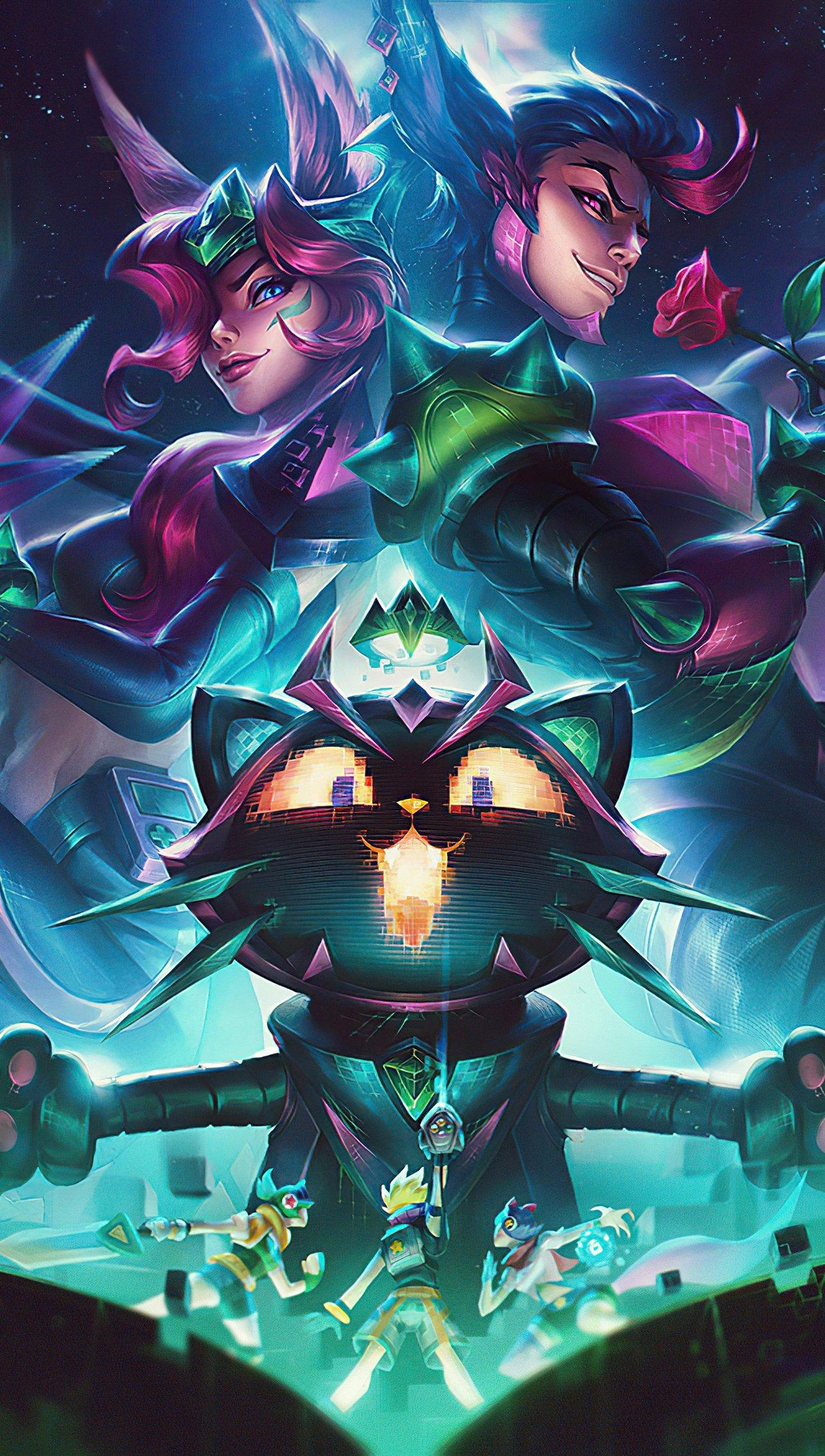 Wallpaper Battle Boss Xayah and Yuumi League of Legends Vertical