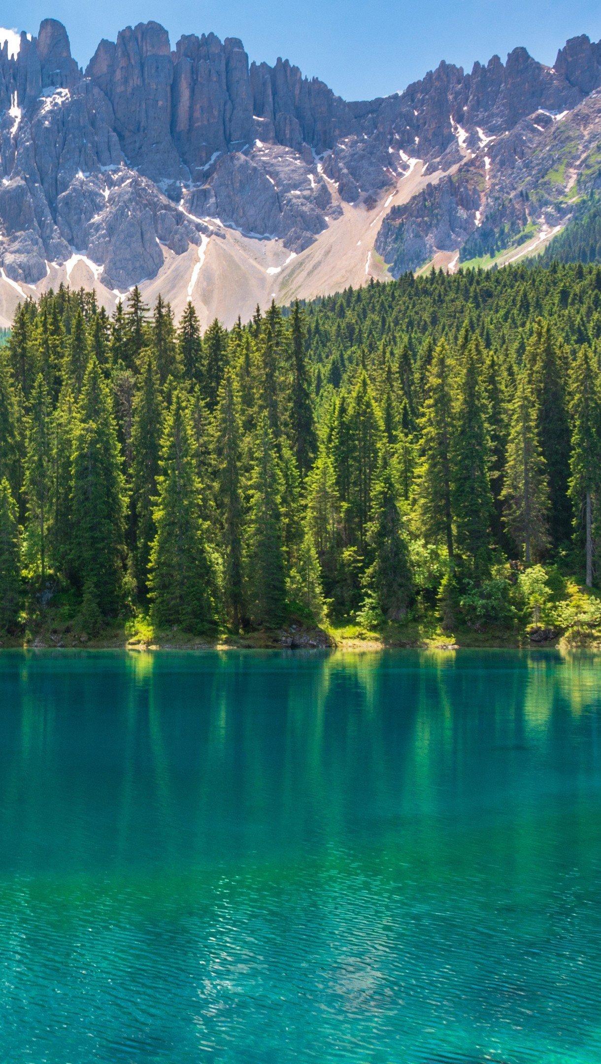 Fondos de pantalla Bosque con lago azulado y montañas Vertical