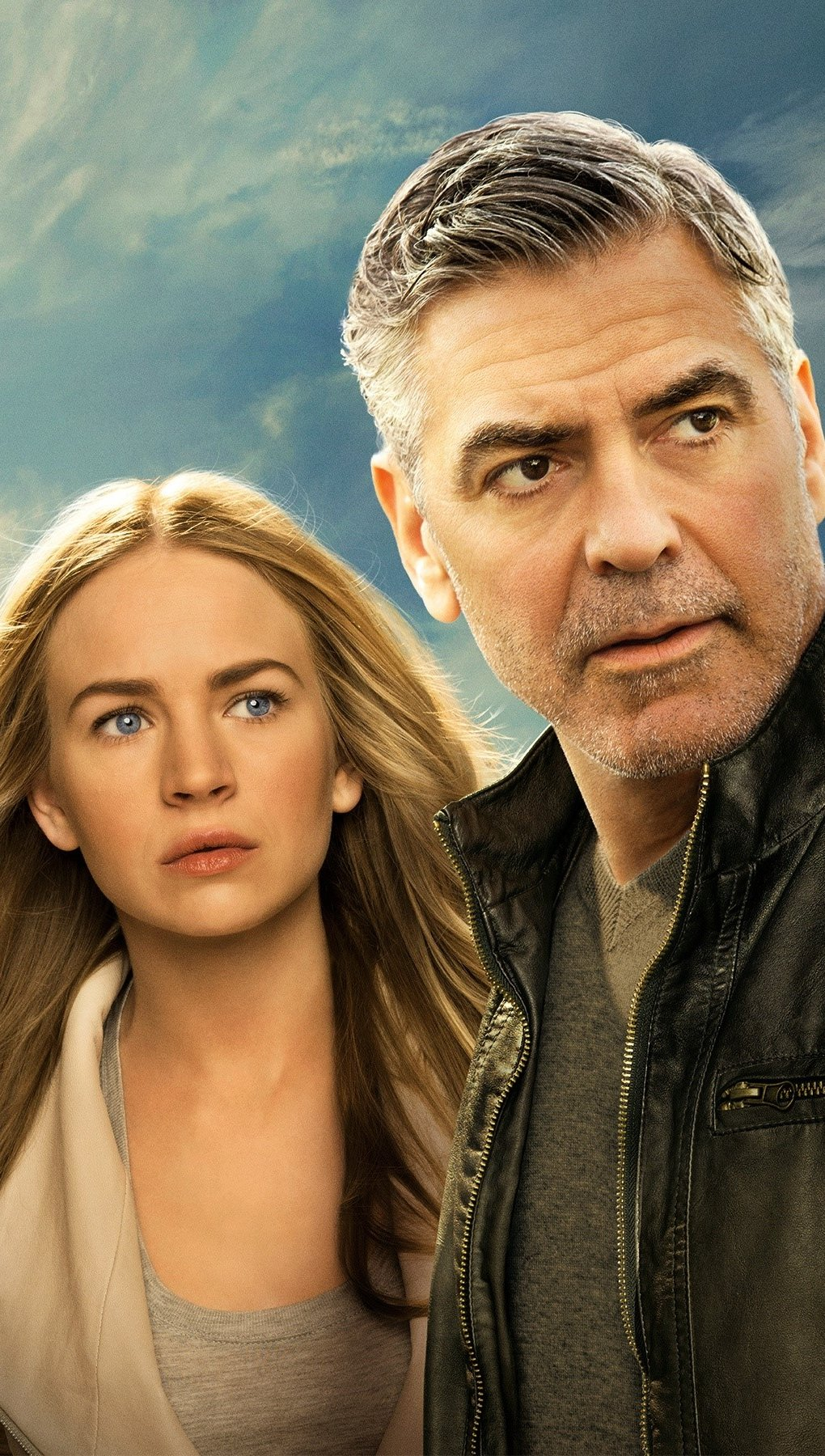 Wallpaper Britt Robertson and George Clooney in Tomorrowland Vertical