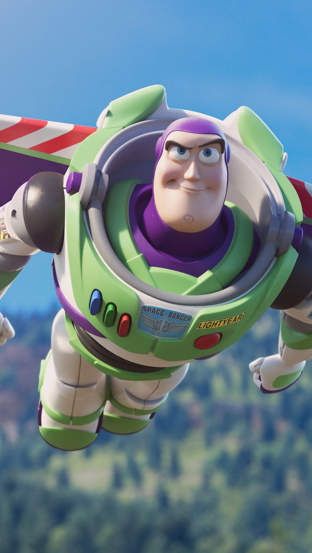 Wallpaper Buzz Lightyear flying Toy Story 4 Vertical