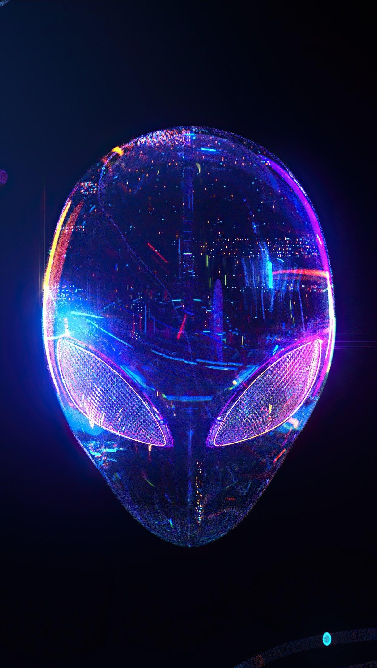 Wallpaper Alien head in neon colors Vertical