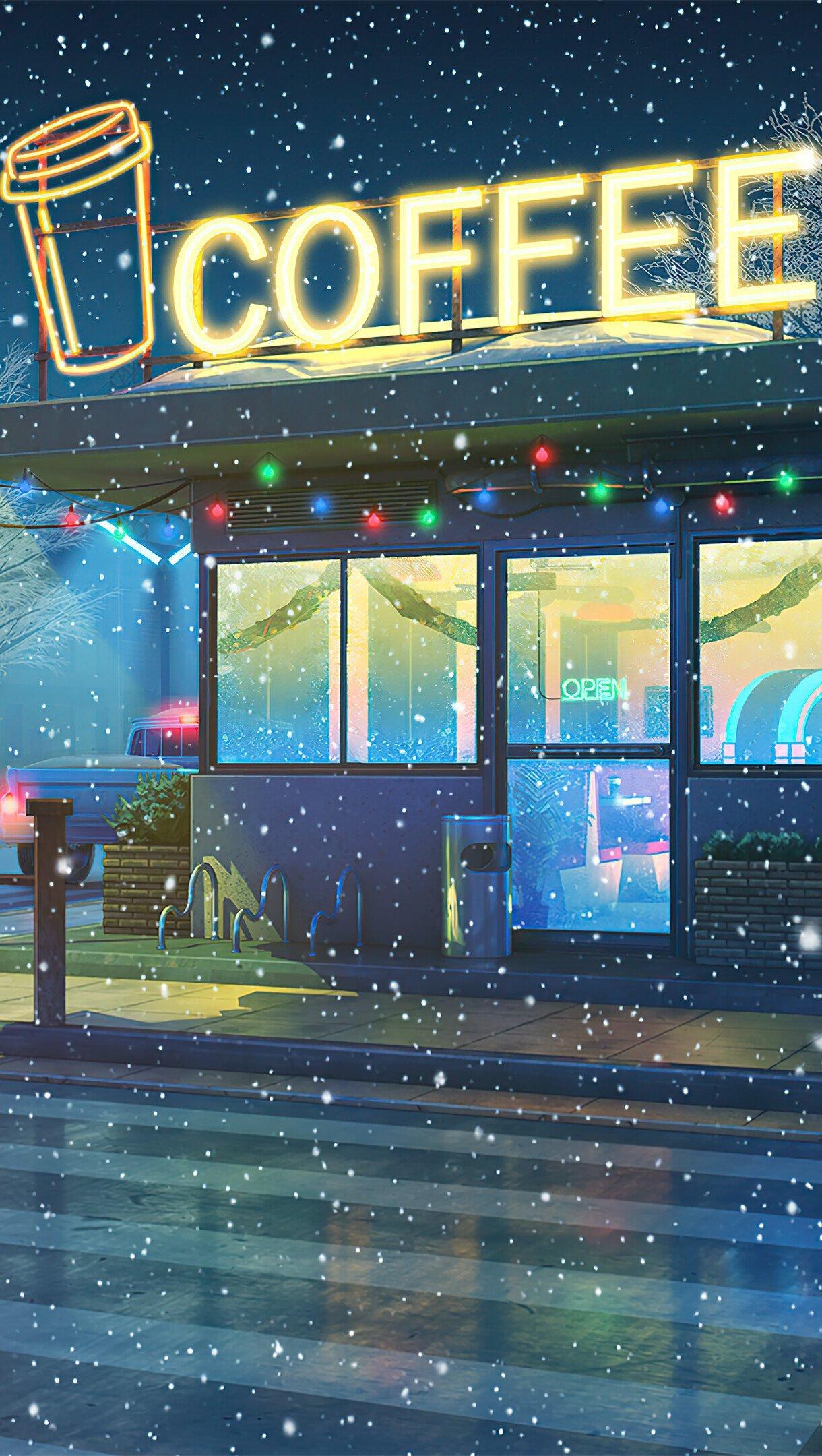 Fondos de pantalla Cafetería en el invierno durante la noche Arte Digital Vertical
