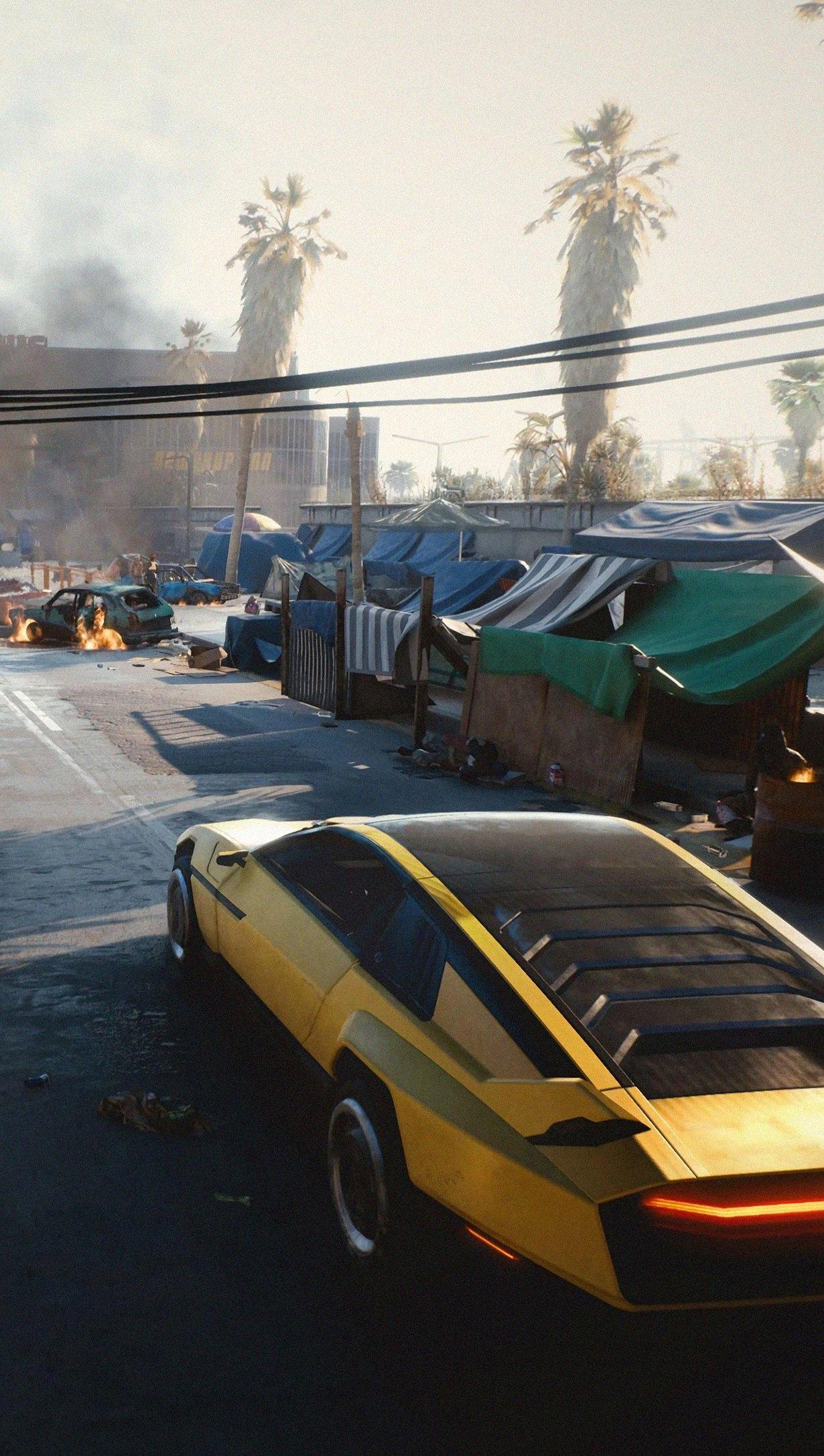 Wallpaper Street from Cyberpunk 2077 Vertical