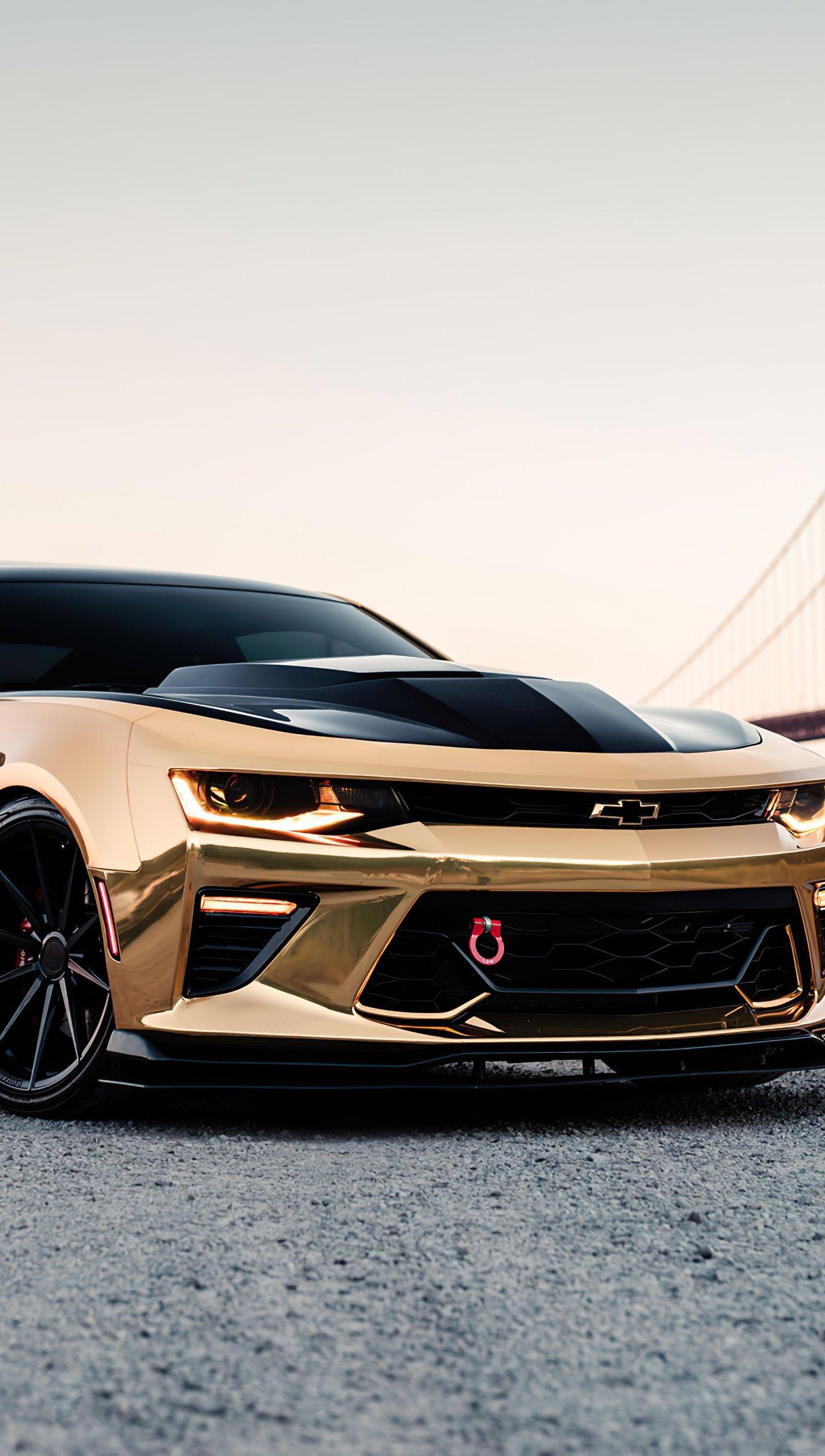 Fondos de pantalla Camaro Chrome dorado Vertical
