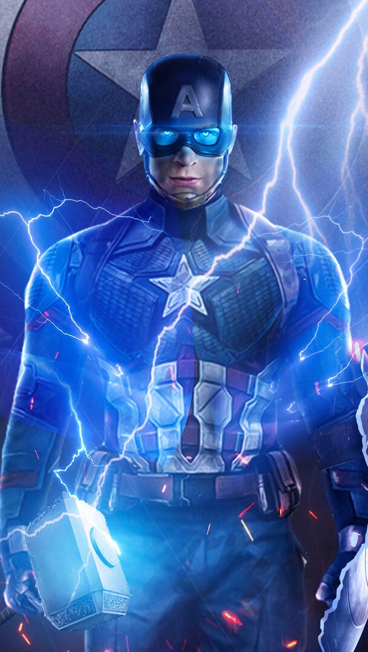 Fondos de pantalla Capitan America con el martillo de Thor Vertical