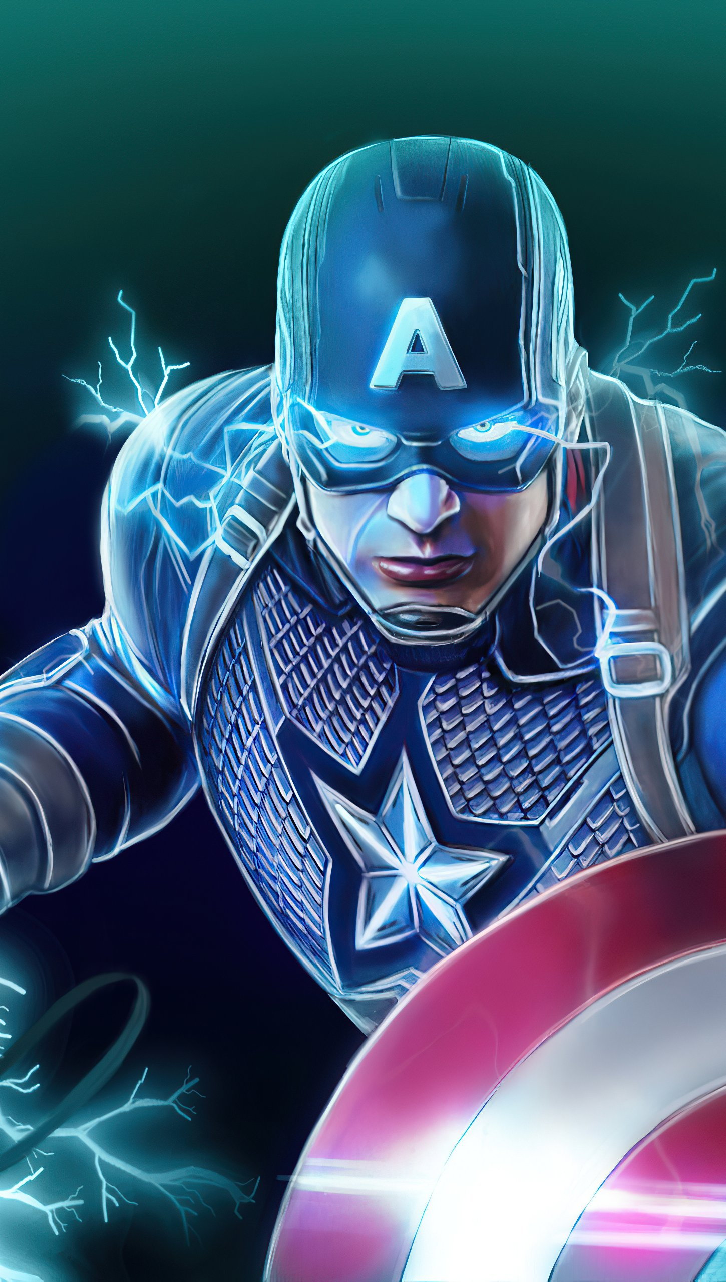 Wallpaper Captain America with shield and Thor's hammer Vertical