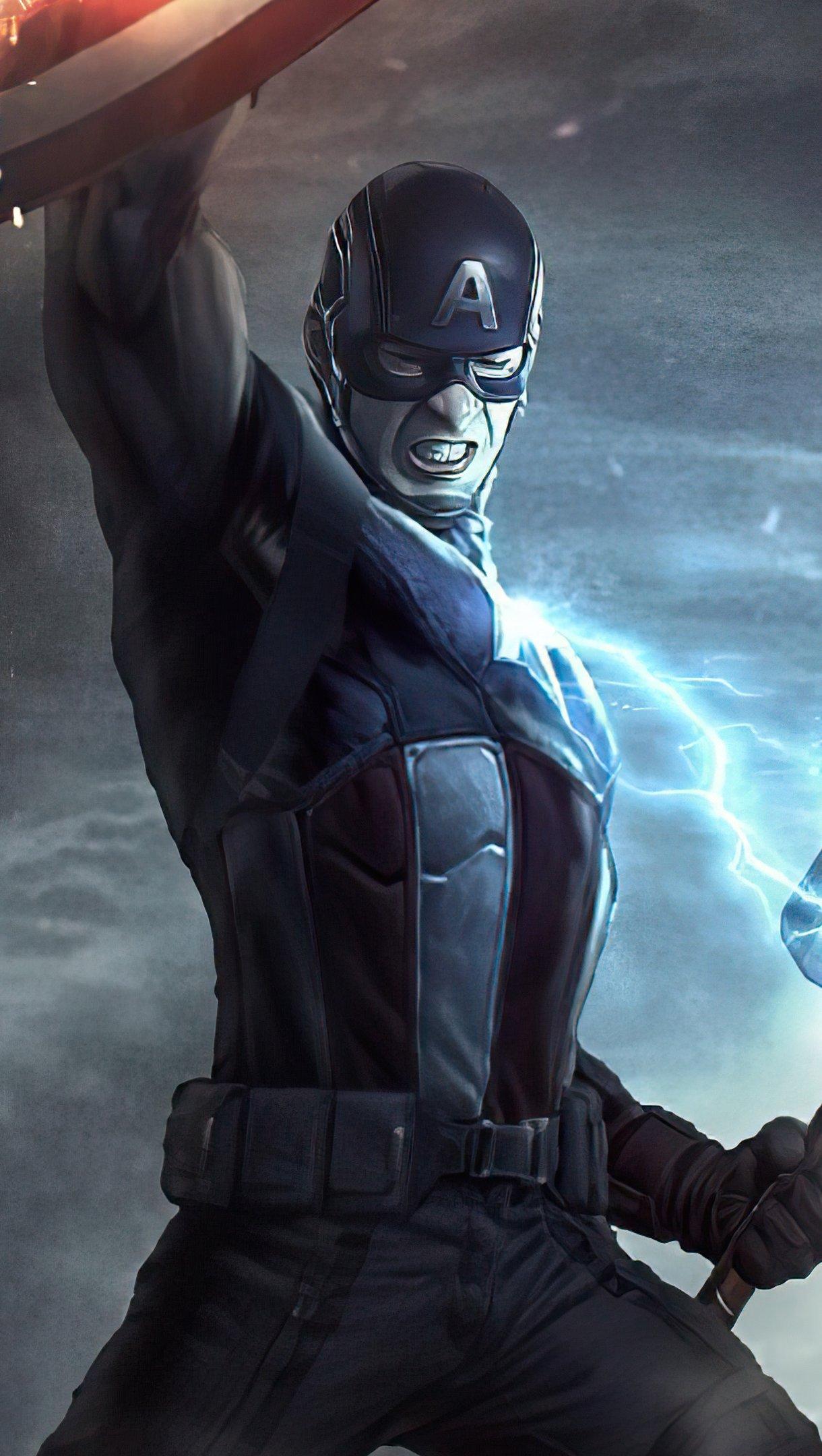 Fondos de pantalla Capitan America con martillo de Thor 2020 Vertical