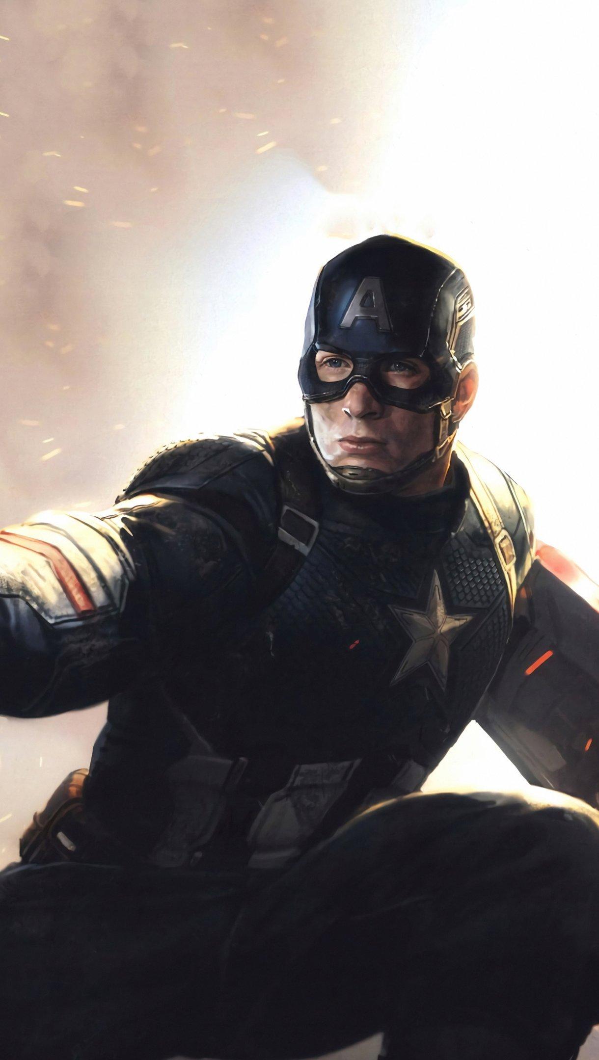 Fondos de pantalla Capitan America con martillo de Thor Vertical