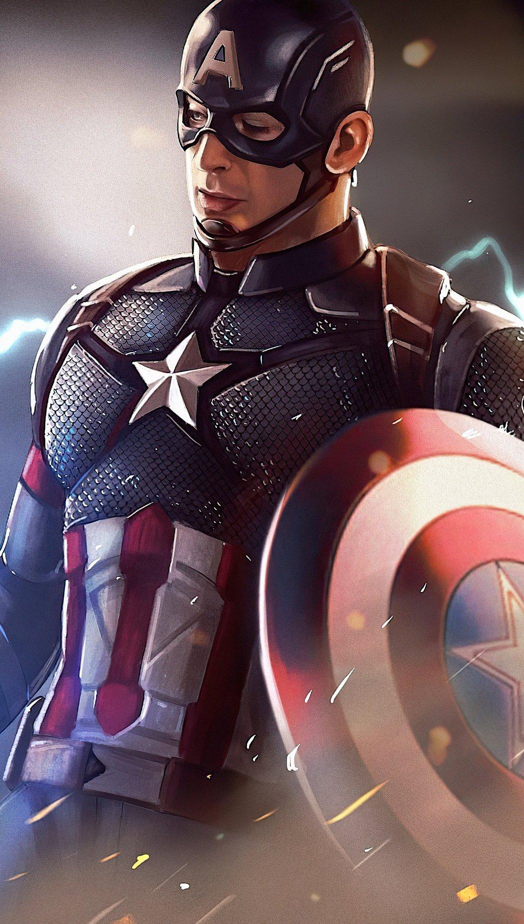 Fondos de pantalla Capitán America con martillo de Thor Fanart Vertical