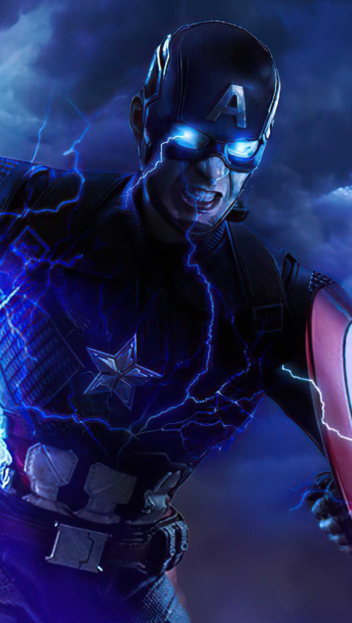 Wallpaper Captain America with hammer and shield Vertical
