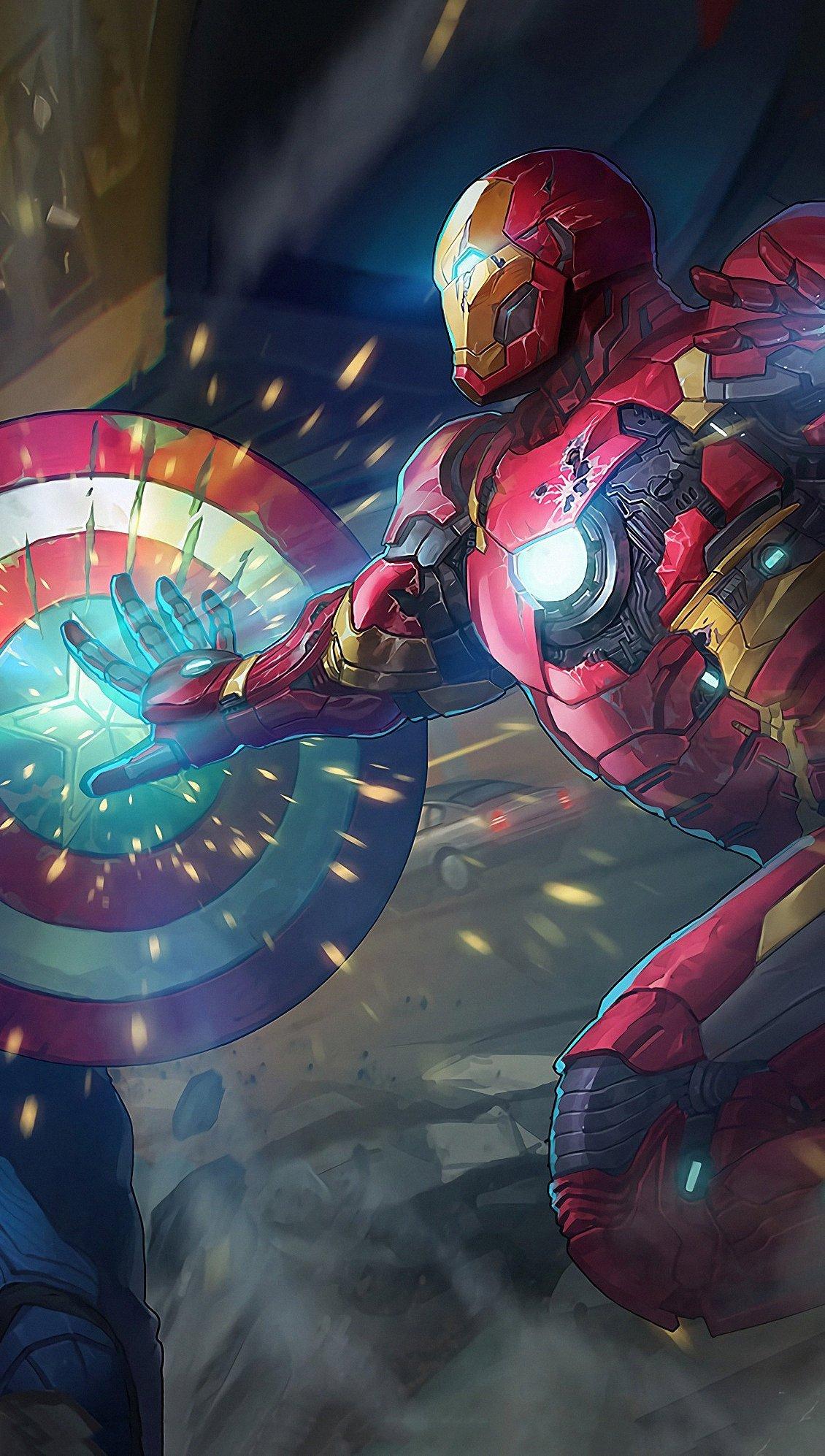 Fondos de pantalla Capitan America contra Iron Man Vertical