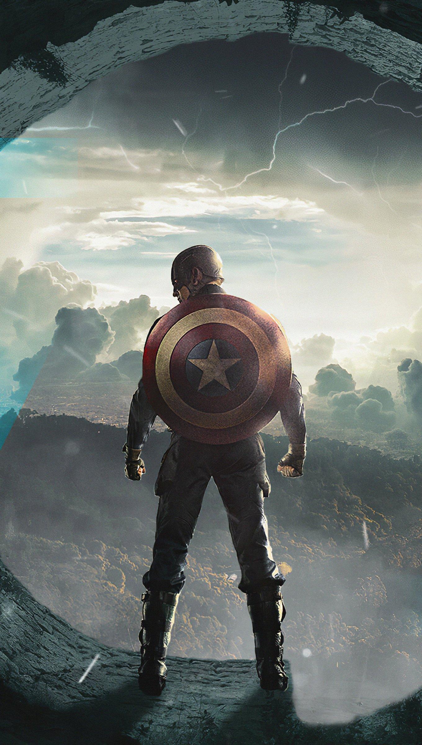 Fondos de pantalla Capitan America de espaldas Vertical