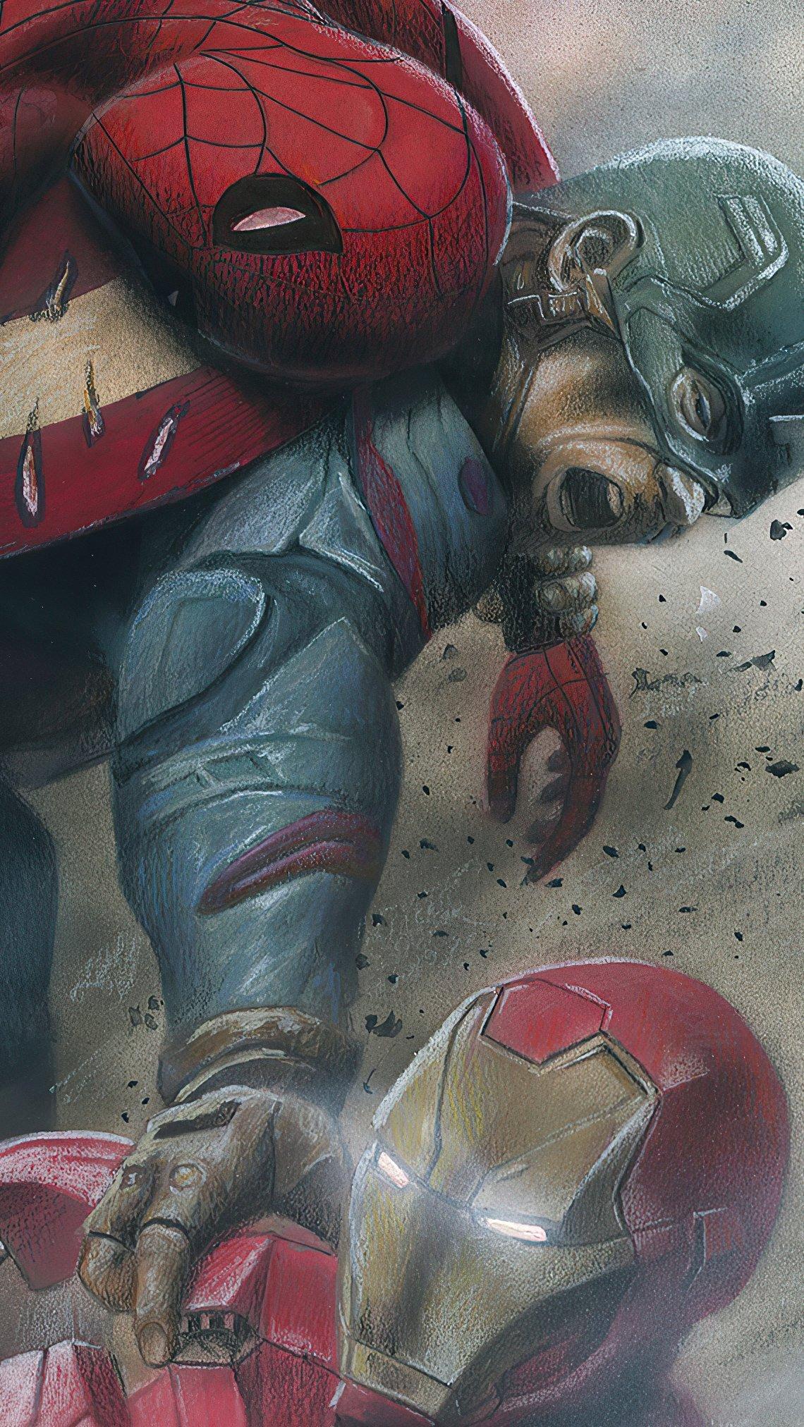 Fondos de pantalla Capitan America, El hombre araña y Iron Man en lucha Vertical