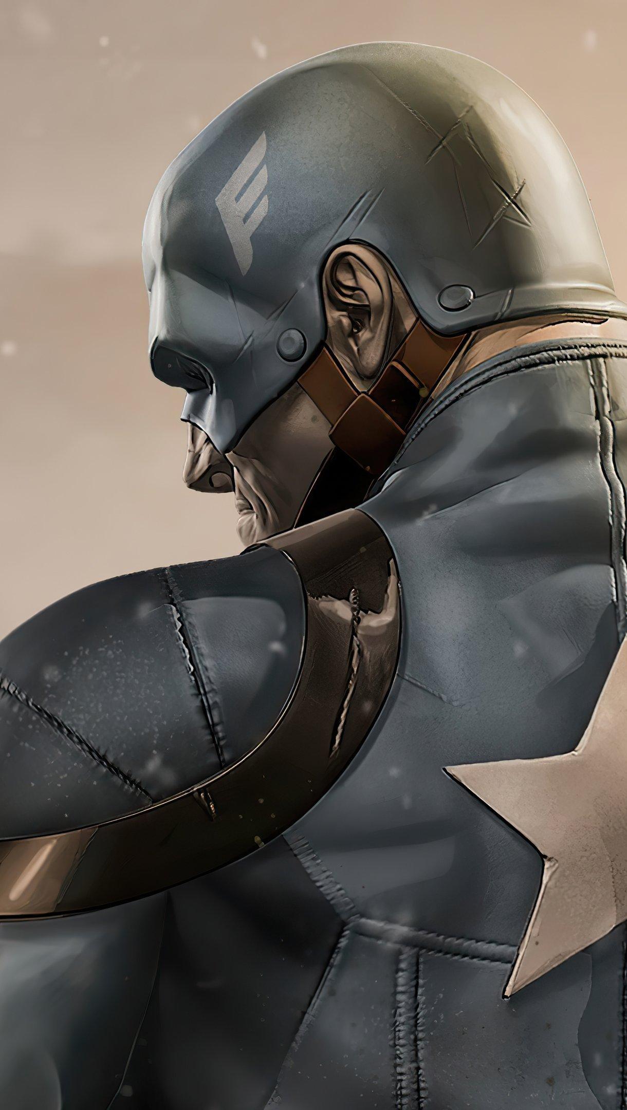 Fondos de pantalla Capitán America en campo de batalla Vertical