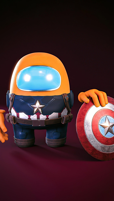 Fondos de pantalla Capitán America estilo Among us Vertical