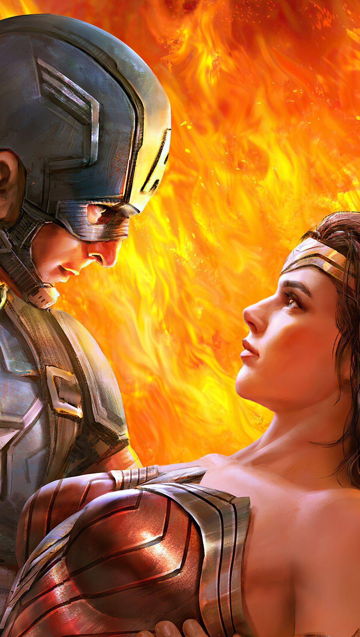 Fondos de pantalla Capitan America y la mujer maravilla Vertical