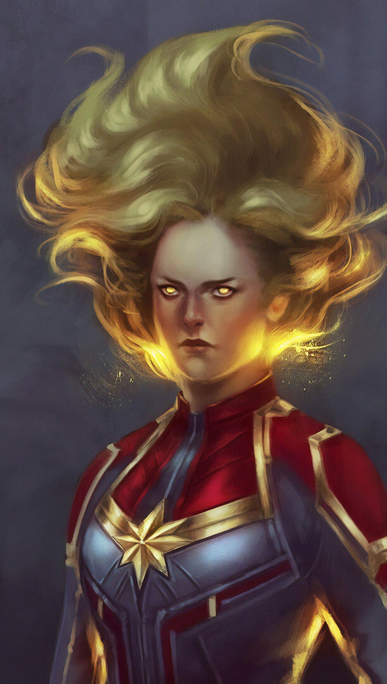 Wallpaper Captain Marvel Artwork Vertical