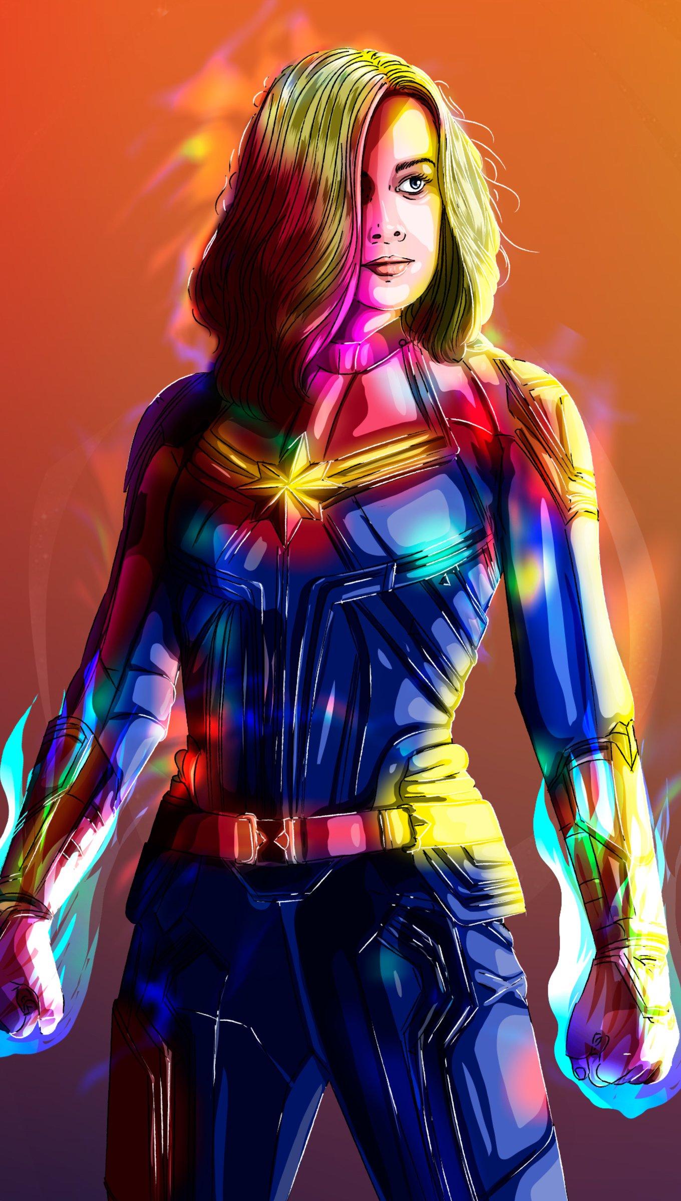 Fondos de pantalla Capitana Marvel de colores Vertical