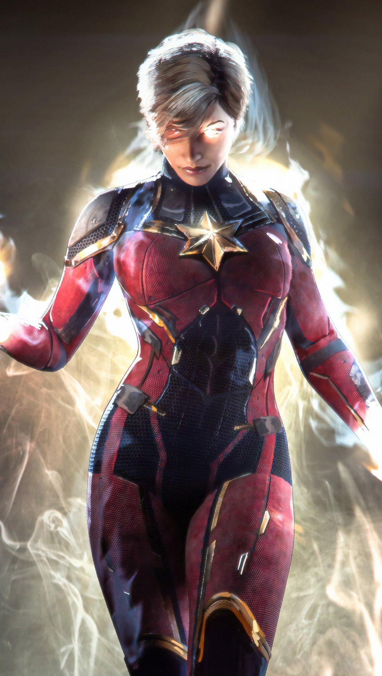 Fondos de pantalla Capitana Marvel en fuego Vertical