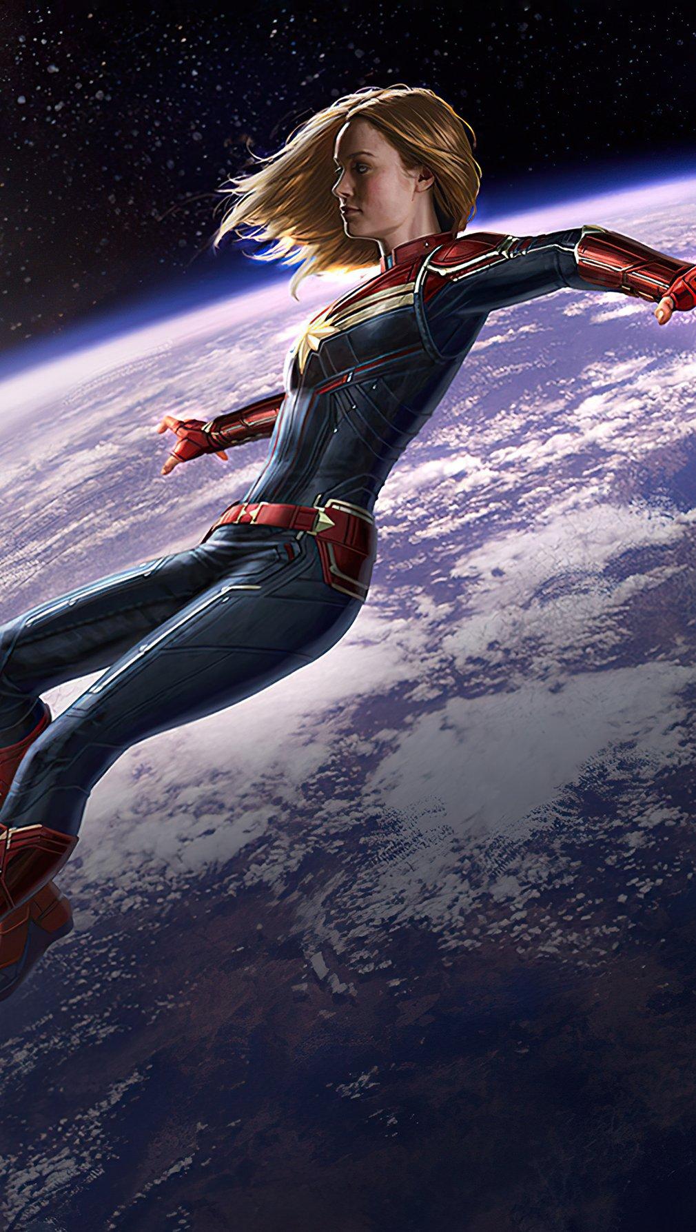 Fondos de pantalla Capitana Marvel fuera de la tierra Vertical