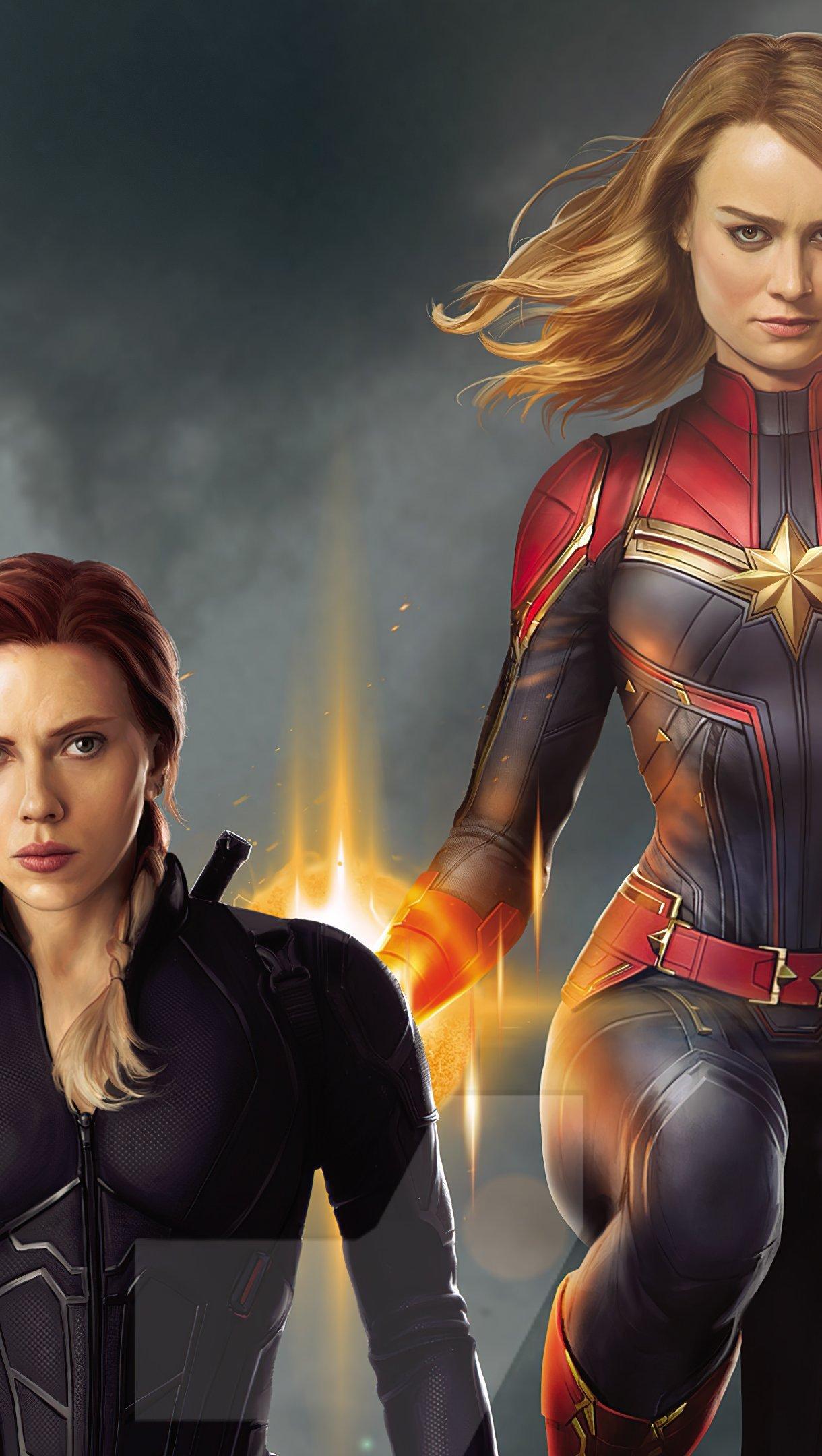 Wallpaper Captain Marvel and Black Widow Vertical