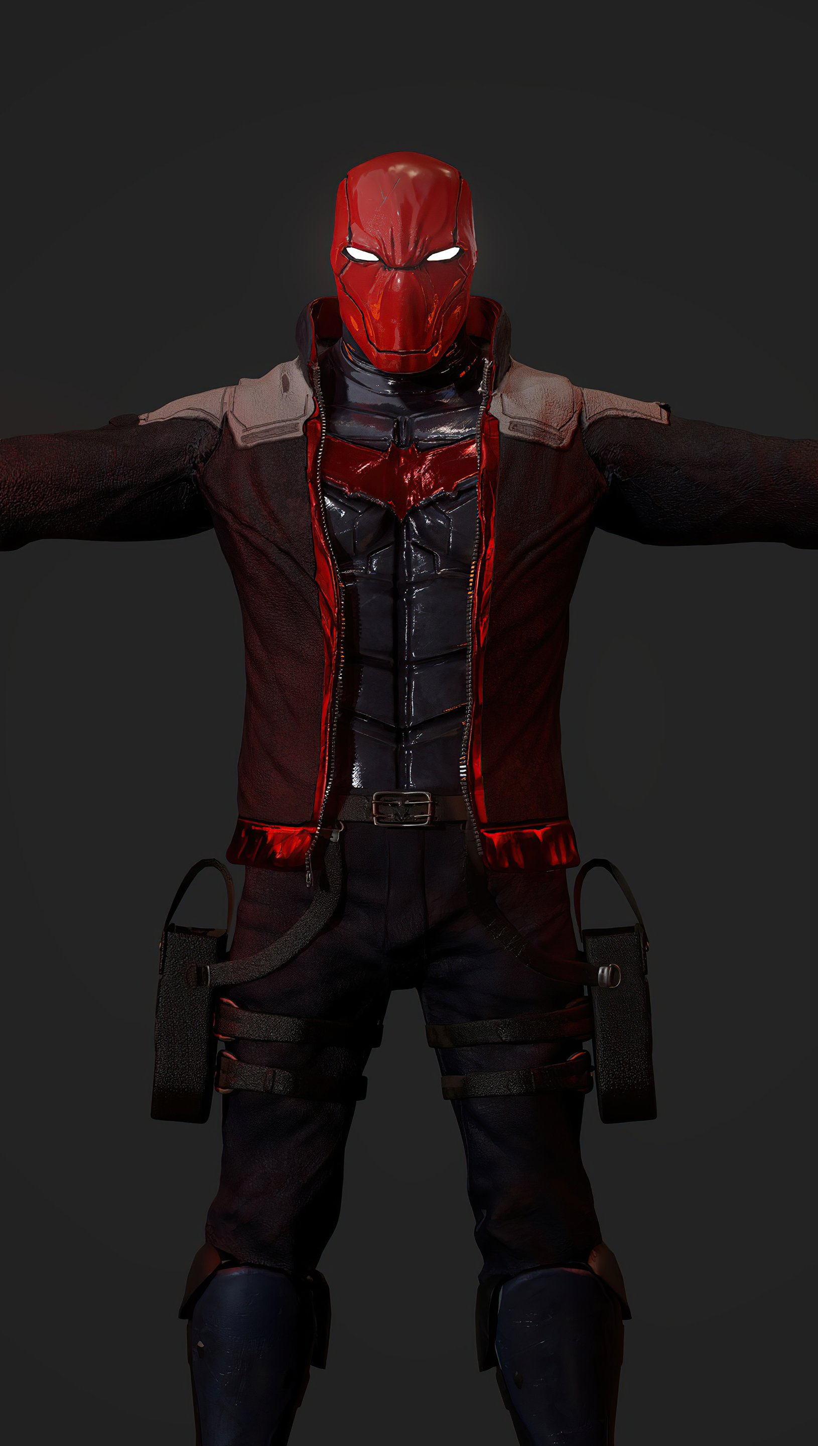 Wallpaper Red hood with guns in both hands Vertical
