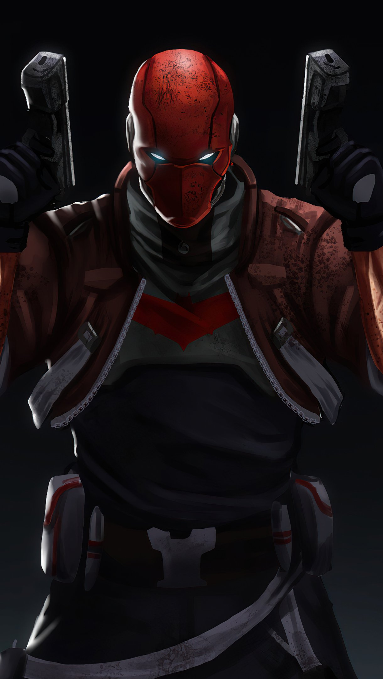 Wallpaper Red hood with two guns Vertical
