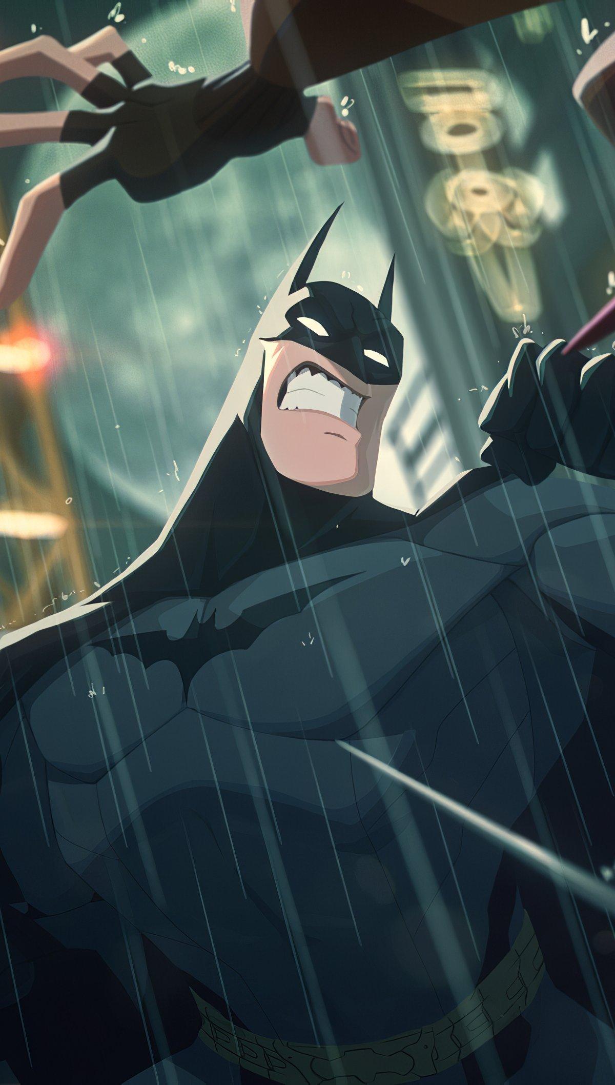Wallpaper Batman Fighting Caricature Vertical