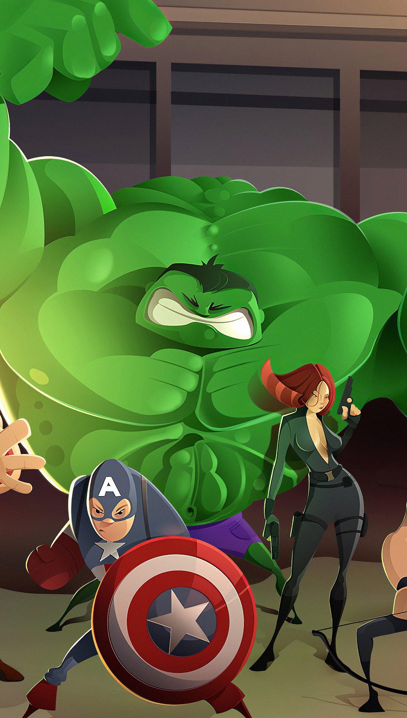 Wallpaper Cartoon of The Avengers Vertical