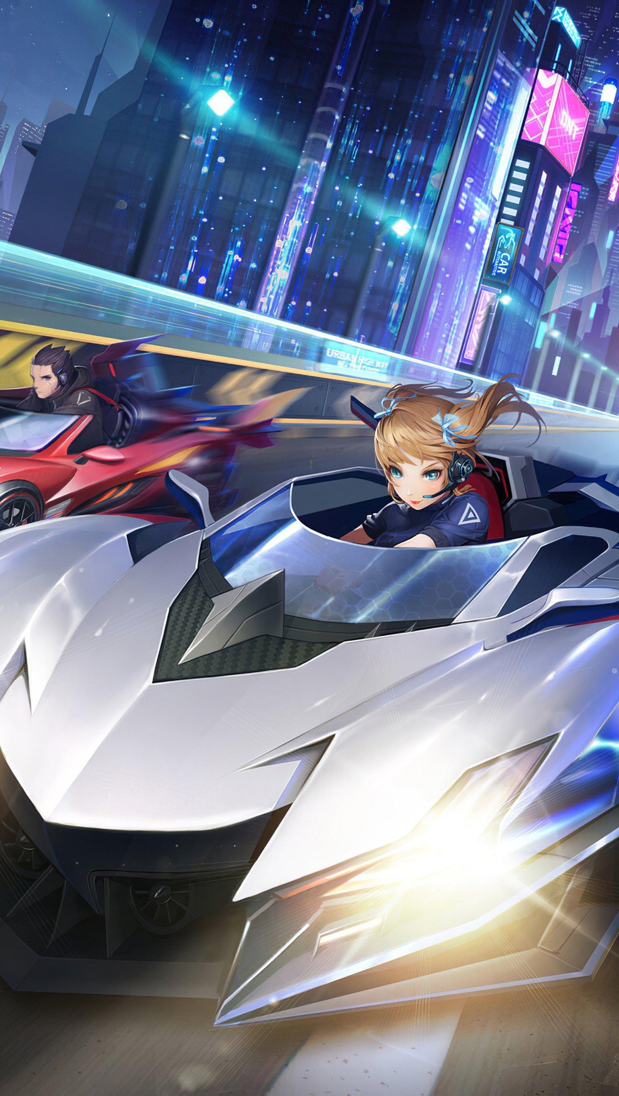 Fondos de pantalla Carrera de autos anime Vertical