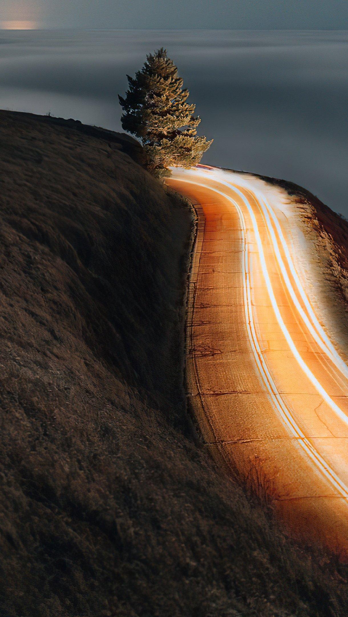 Fondos de pantalla Carretera al amanecer larga exposición Vertical
